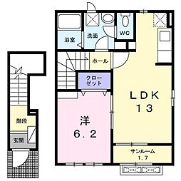 富山県富山市手屋1丁目の賃貸アパートの間取り