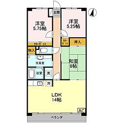 JR姫新線 余部駅 徒歩15分の賃貸マンション 2階3LDKの間取り