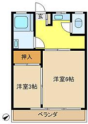 多摩川台コーポ[201号室]の間取り