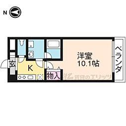 京都市営烏丸線 北大路駅 徒歩4分の賃貸マンション 3階1Kの間取り