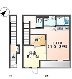 東久宝寺賃貸アパート新築工事 2階1LDKの間取り
