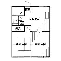 神奈川県相模原市南区上鶴間1の賃貸アパートの間取り