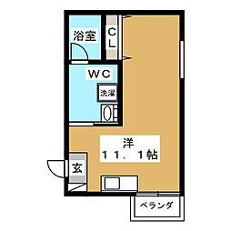 MOANA HALE 2階ワンルームの間取り