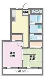 神奈川県横浜市鶴見区梶山1丁目の賃貸マンションの間取り