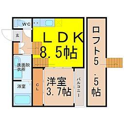 愛知県名古屋市中川区松葉町1丁目の賃貸アパートの間取り