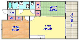 ヒルスカイ六甲[2階]の間取り