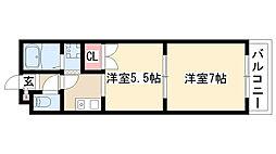 愛知県名古屋市緑区諸の木1丁目の賃貸アパートの間取り