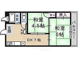 コーポT&T 3階2DKの間取り