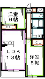 JR中央本線 吉祥寺駅 バス18分 北ノ台小学校下車 徒歩1分の賃貸アパート 2階2LDKの間取り