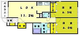 福岡県古賀市天神6の賃貸アパートの間取り