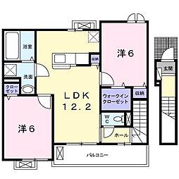 岡山県倉敷市東塚4丁目の賃貸アパートの間取り