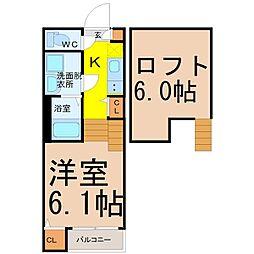 近鉄名古屋線 黄金駅 徒歩5分の賃貸アパート 1階1SKの間取り