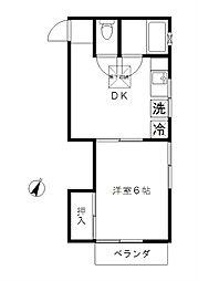 東京都大田区田園調布1丁目の賃貸アパートの間取り
