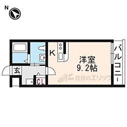 KYOTO HOUSE西京極 2階ワンルームの間取り