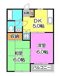 東京都清瀬市上清戸2丁目の賃貸アパートの間取り