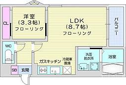 REGALEST小田原 2階1LDKの間取り