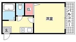 HU岩屋ハイツ[3階]の間取り