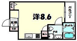 サンクラッソ神戸山手 2階1Kの間取り