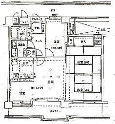 「東急ドエルアルス京都山科」[3階]の間取り