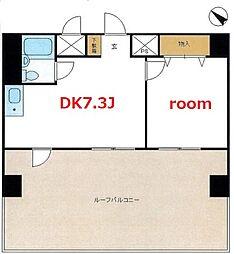 横浜市営地下鉄ブルーライン 阪東橋駅 徒歩6分の賃貸マンション 7階1DKの間取り