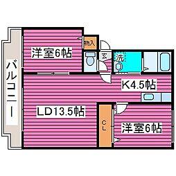 北海道札幌市北区百合が原5丁目の賃貸マンションの間取り