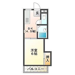 三重県津市東丸之内の賃貸アパートの間取り