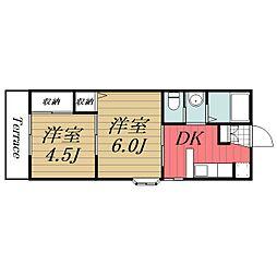 JR総武本線 八街駅 徒歩24分の賃貸アパート 1階2DKの間取り
