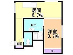 吉川マンション 2階1DKの間取り