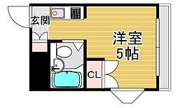 トーエー高井田ビル 7階ワンルームの間取り