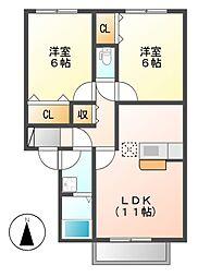 レクスト上野[2階]の間取り