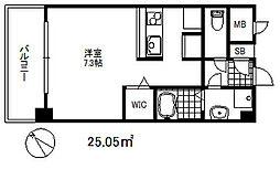 ソアシンナガタ 4階ワンルームの間取り