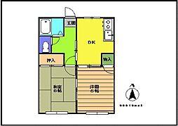 熊野ハイツ[202号室]の間取り