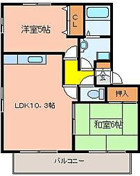 大阪府八尾市東山本新町2丁目の賃貸アパートの間取り