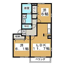 富ヶ丘集合住宅 柳[2階]の間取り