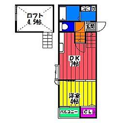 福岡県福岡市博多区東那珂2丁目の賃貸アパートの間取り