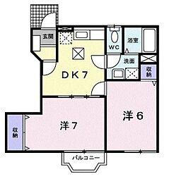 千葉県流山市西初石2丁目の賃貸アパートの間取り