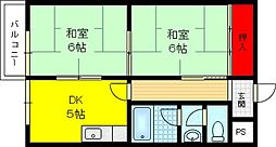 富尾マンションII[4階]の間取り