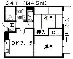 ドミール藤井寺[301号室号室]の間取り