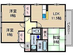 レシェンテ茨木 E棟[1階]の間取り