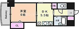 ノルデンハイム東三国 2階1DKの間取り