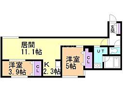 野幌DUO 2階2LDKの間取り