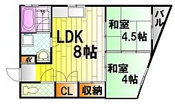 広島県広島市西区西観音町の賃貸マンションの間取り