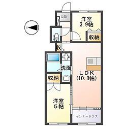 島本町新築アパート 1階2LDKの間取り