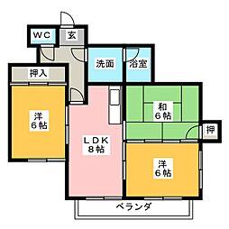 マンション旭ヶ丘[3階]の間取り
