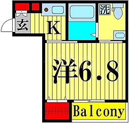 FICATA綾瀬 3階1Kの間取り