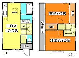 [一戸建] 東京都東久留米市中央町2丁目 の賃貸【/】の間取り
