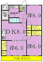 セナリオコート増尾イーストA・B[1-302B号室]の間取り