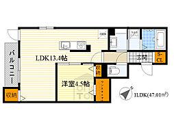 Osaka Metro谷町線 千林大宮駅 徒歩16分の賃貸アパート 3階1LDKの間取り