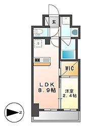 ハーモニーレジデンス名古屋新栄[9階]の間取り