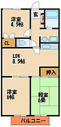 Kクレーネー[1階]の間取り
